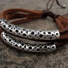 Leather bracelet with beautiful silver tubes, Metropoles