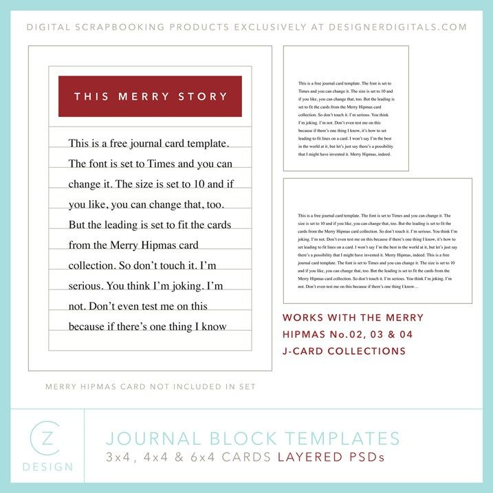 A free journal card template package for your upcoming holiday - free journal templates