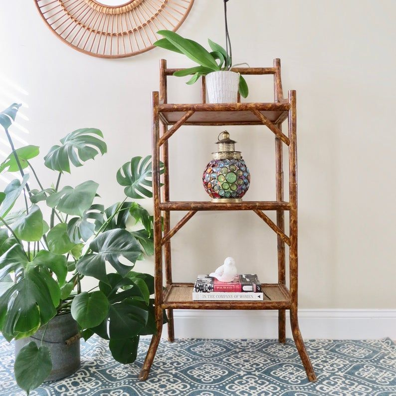 Vintage Rattan Standing Shelf Three Tier Plant Stand Etsy With