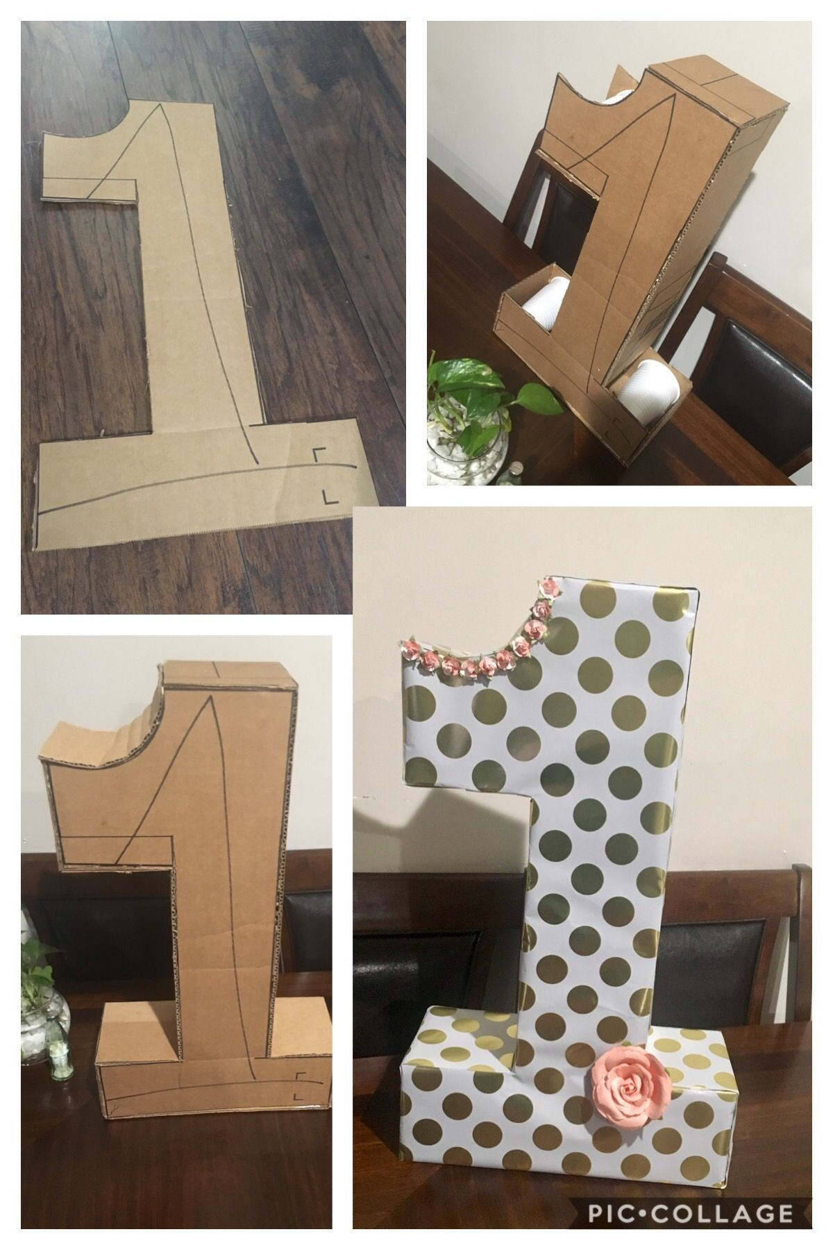 First Birthday Diy Cardboard Number Diy 1st Birthday Decorations