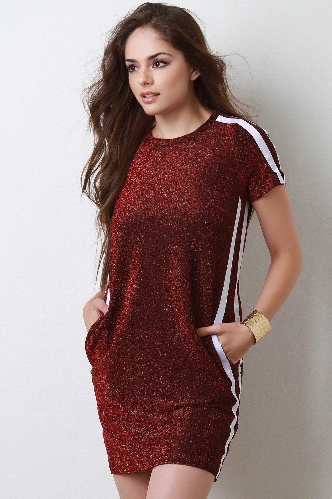 Glitter knit pocketed stripe mini dress products pinterest
