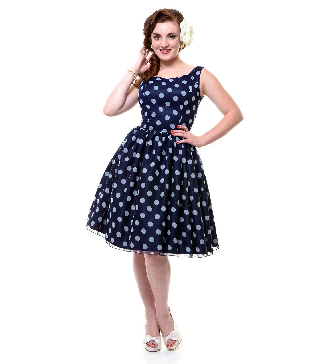 Retro style navy blue dress