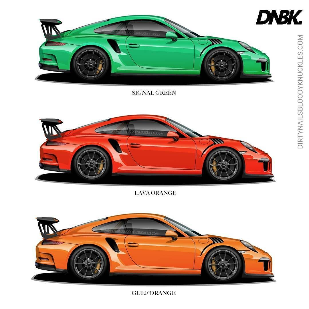 Which would you? Signal green just barely beat out guards red and aqua blue last time. How about some opposites? Which would you pick? Prints available at Dirtynailsbloodyknuckles.com  Link in profile  #porsche #911 #porsche911 #porscheart #991 #gt3 #911gt3 #gt3rs #991gt3 #911gt3rs #rs #gt3 #porschegt3 #991911 #automotiveart #illustration #carart #automotiveillustration #signalgreen #lavaorange #gulf #gulflivery #gulforange #porschemotorsport #motorsport