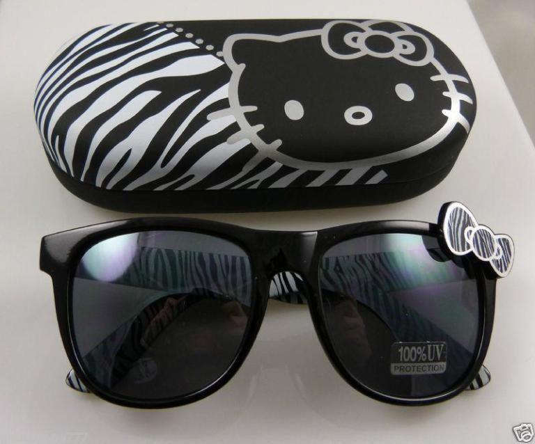 Hello Kitty Sanrio sunglasses & case 100 % UV protetection glasses black zebra | the Hello Kitty Collectionary