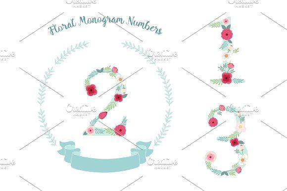 Cute Vintage Numbers With Hand Drawn Rustic Flowers Graphics Isolated On White Background By All