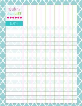 Elementary Class List Template  Monthly Planning Pages A