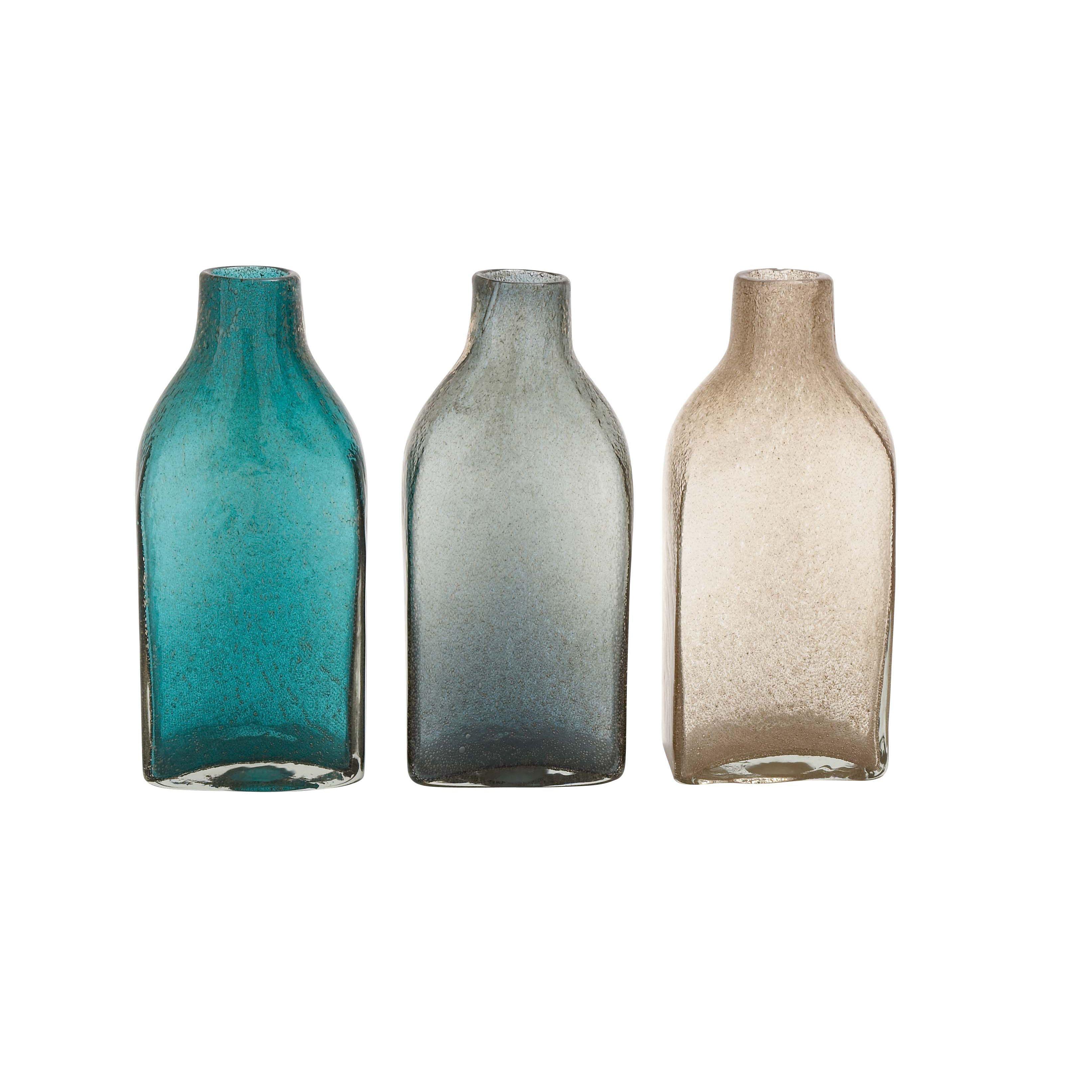 Glass Decorative Bottles Blue Grey And Brown Glass 3 Assorted Bottle Vases Vase Size