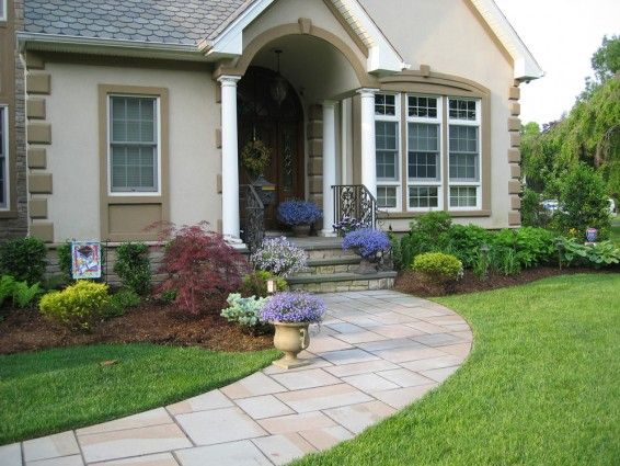 Simple front yard landscaping walkway ideas on a budget for Front window landscaping ideas