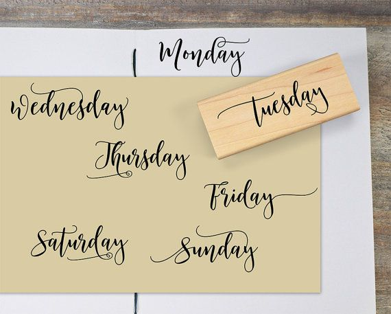 Weekday Planner Stamps Day Of The Week Rubber Stamp Set
