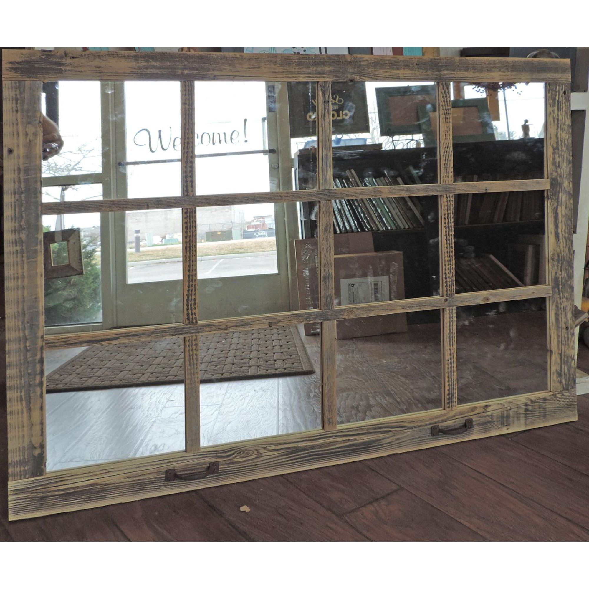 Allbarnwood 46 X 36 Homesteader Style 12 Pane Window Mirror Walmart Com In 2020 Window Pane Mirror Rustic Window Farmhouse Windows