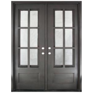 62 In X 81 5 In Craftsman Classic 12 Lite Painted Oil Rubbed Bronze Clear Wrought Iron Prehung Front Discount Interior Doors French Doors Interior Iron Doors
