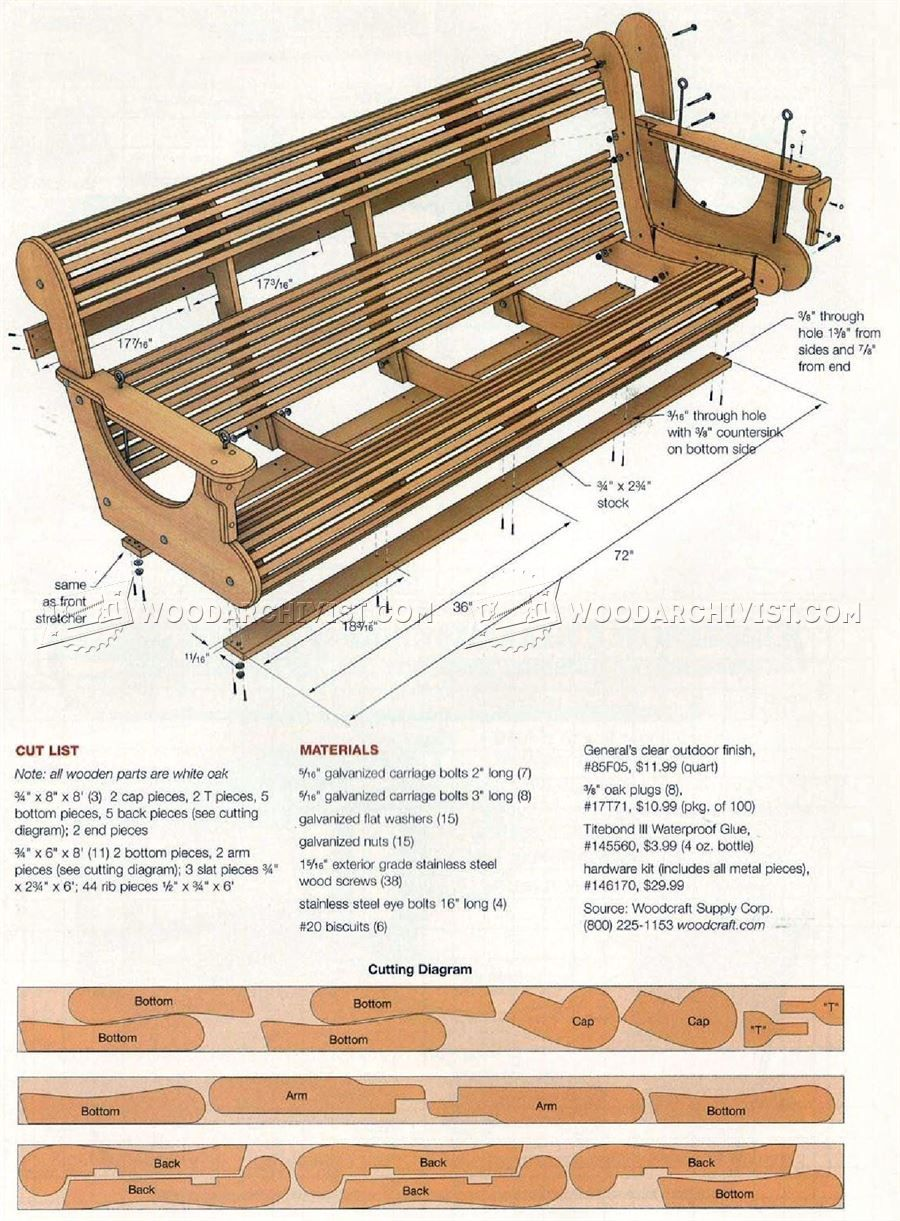 3180 Classic Porch Swing Plans Outdoor Furniture Plans