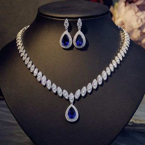 Glam Duchess Style Teardrop Royal Blue Crystals Necklace Earrings Set In 2020 Blue Crystal Necklace Diamond Jewelry Necklace Diamond Necklace Set