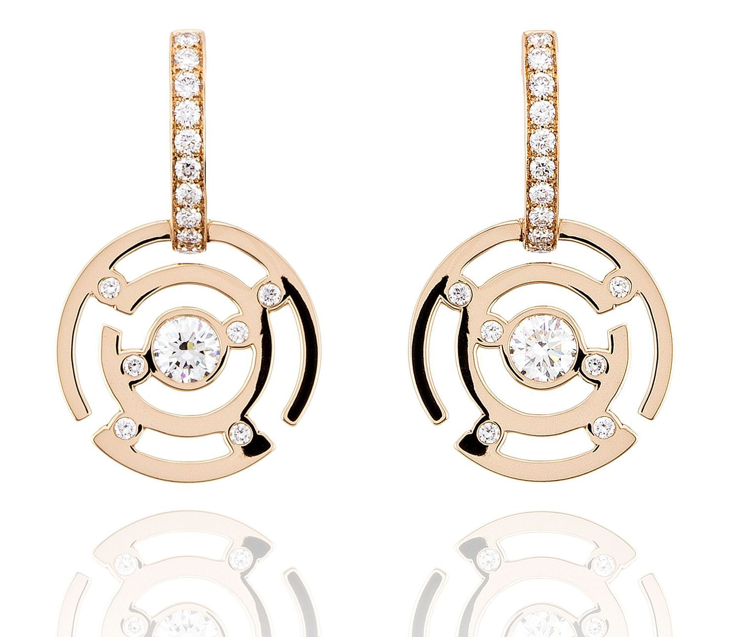 Maze diamond earrings in rose gold