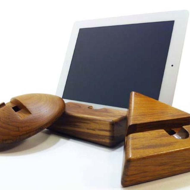 Teak wood iPad stands.  www.hausgoods.com