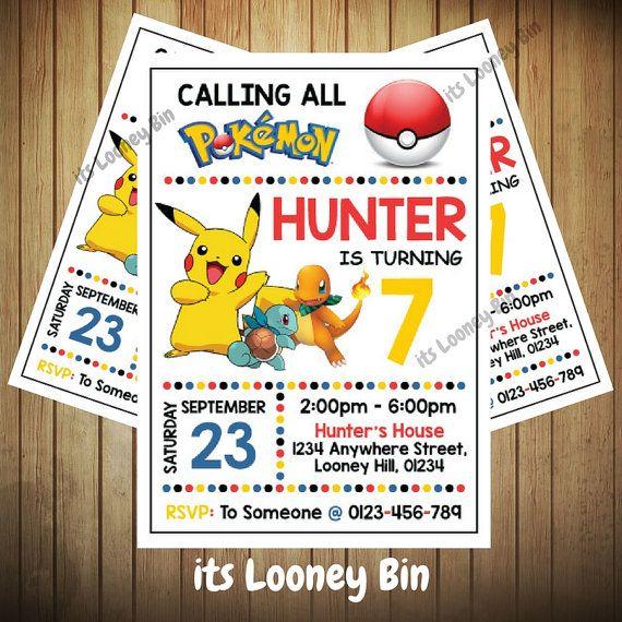 Pokemon Part Invitations Pokemon Go Invite Pokemon Birthday Invitation Personalized Pokemon Invitation Pokemon Invitations Pokemon Birthday Pokemon Party