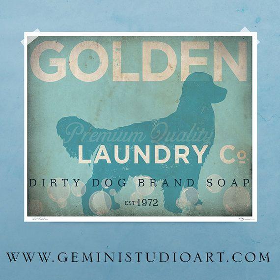 Golden Retriever laundry company laundry room artwork giclee