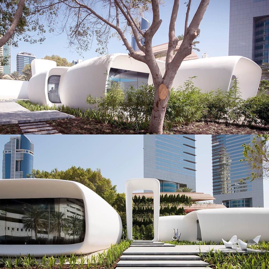 Some more views of world's first 3D printed office building that we designed. Located in the heart of Dubai a design and delivery collaboration with our Costa Rica Chicago Dubai and Shanghai offices. This may be the future of architecture. #genslercr #gensler #3dprinting by genslercr