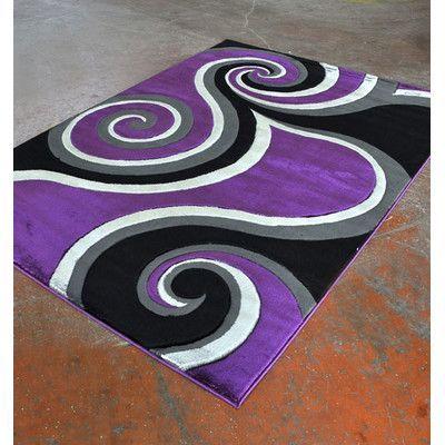Rug Tycoon Purple Black Area Rug Rug Size 7 11 X 9 10 Rugs On