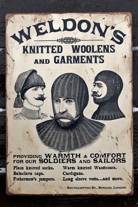 NEW Vintage wooden sign ' Weldon's Knitted Woolens ' by VASSdesign