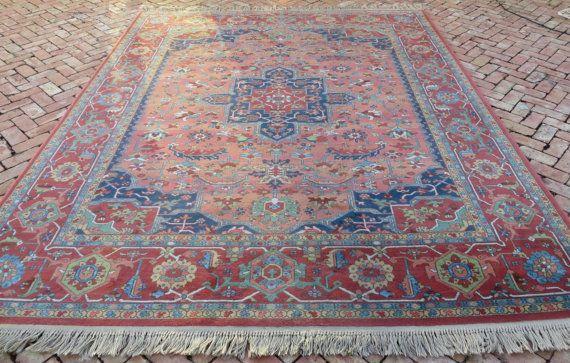 Vintage Karastan Wool Rug Medallion Serapi Pattern 100 8 X 10 6 This Gorgeous Has Beautiful Colors