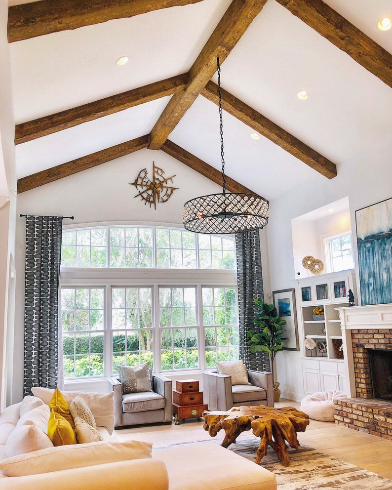 Exposed Wood Beams Made To Order Etsy In 2020 Vaulted Ceiling Living Room Beams Living Room Ceiling Beams Living Room #vaulted #ceiling #wood #beams #living #room