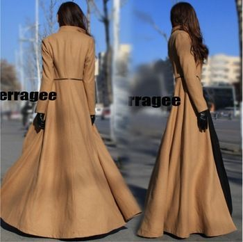 Designer 2 Ways Put on 2013 Winter OVERLENGTH MAXI LONG Women's WOOL Coat Ladies Tweeds New Fashion Cashmere Overcoat Outwear