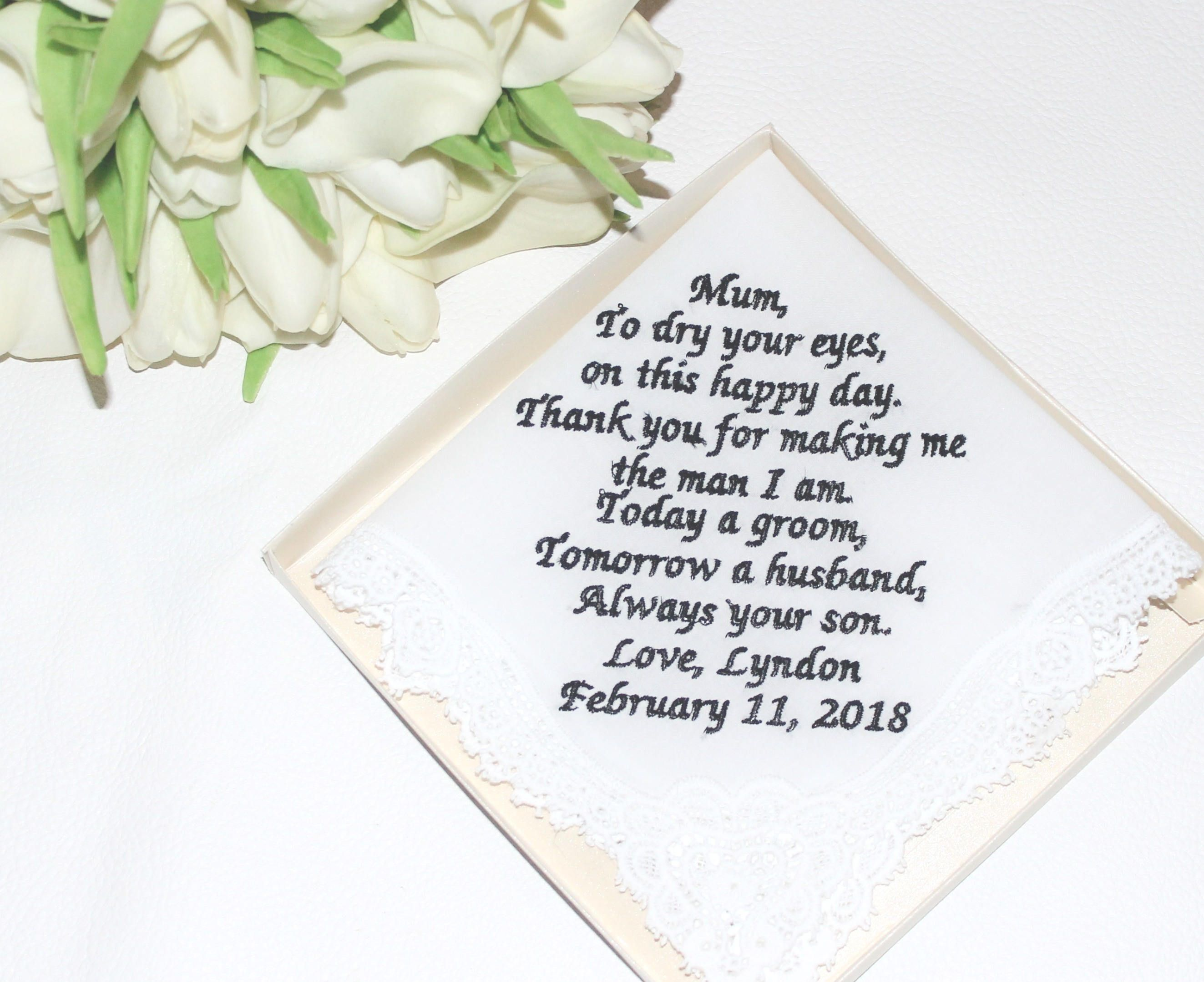 Embroidered Personalized Wedding Gift Groom To Mumgift For Aunt