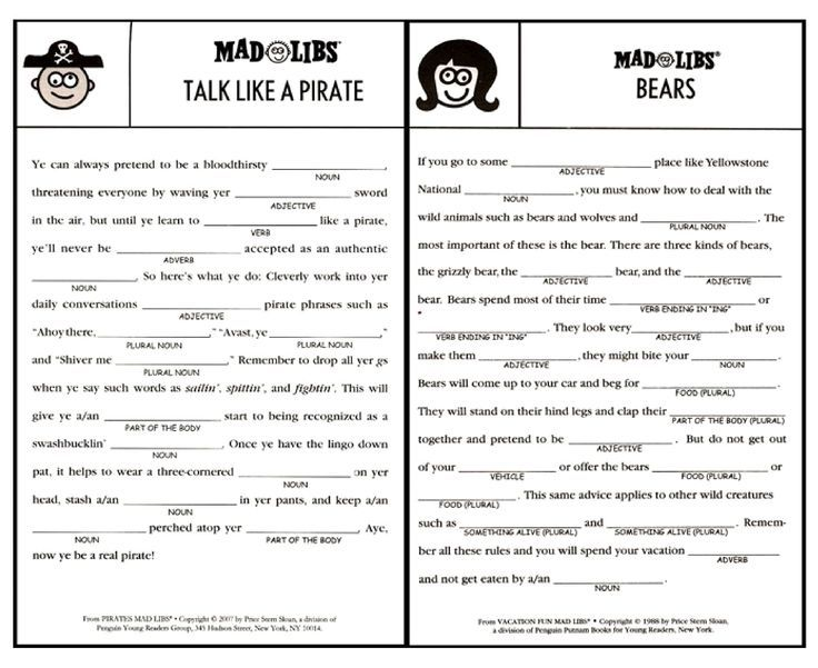 Challenger image with mad libs printable for adults