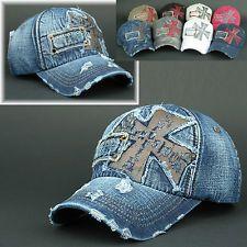 26886edcb2d Ball CAP BRJ O Denim Navy Blue Distressed Vintage Look Baseball Jean HAT  Trucker