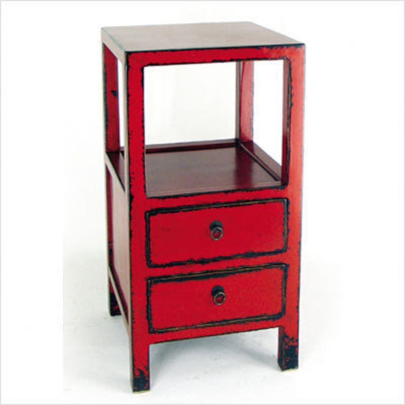 Oriental Furniture Telephone Stand in Distressed Red | Side/End ...