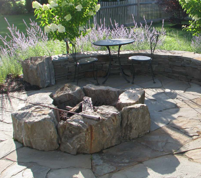 Boulder Fire Pit Fire Pit Landscaping Outdoor Fire Pit Outdoor Fire