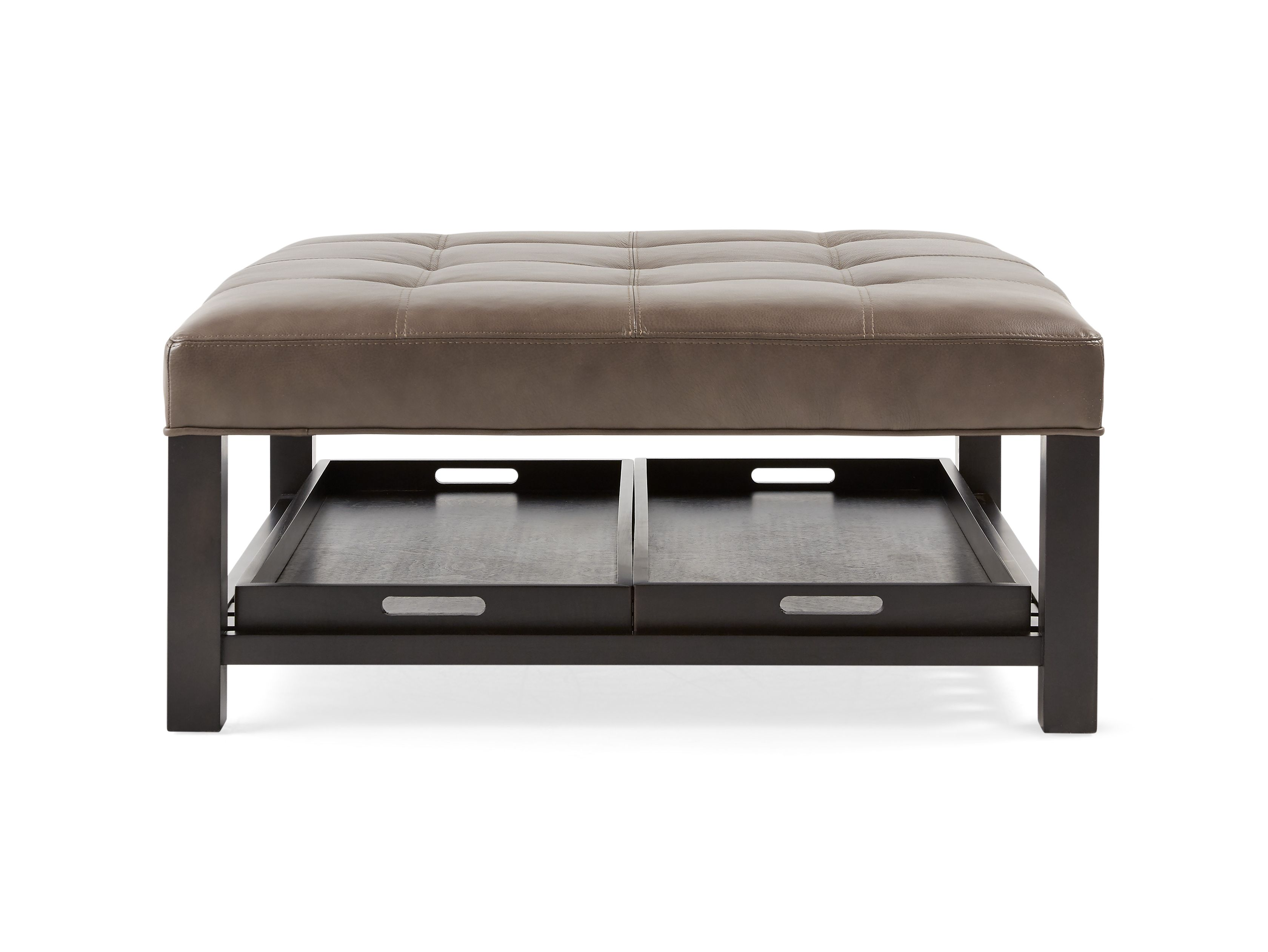 Butler Leather Biscuit Tufted Ottoman - Arhaus Furniture