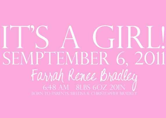It's A Girl New Born Baby Girl Announcement Card by PURPLEgalore on Etsy, $5.00