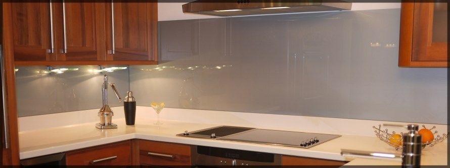 Silver Grey Kitchen Splashbacks Above Stone Worktop And Upstands
