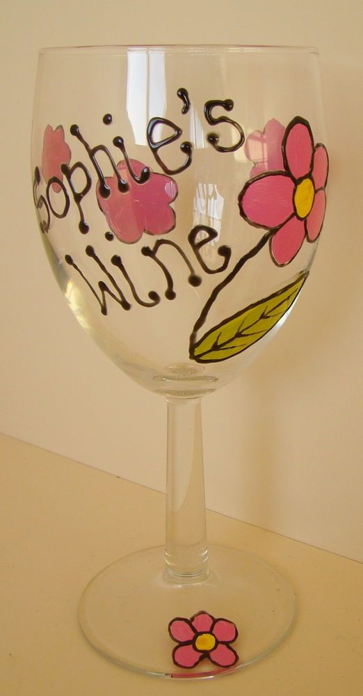 hand painted personalised wine glass birthday wedding hen party anniversary gift