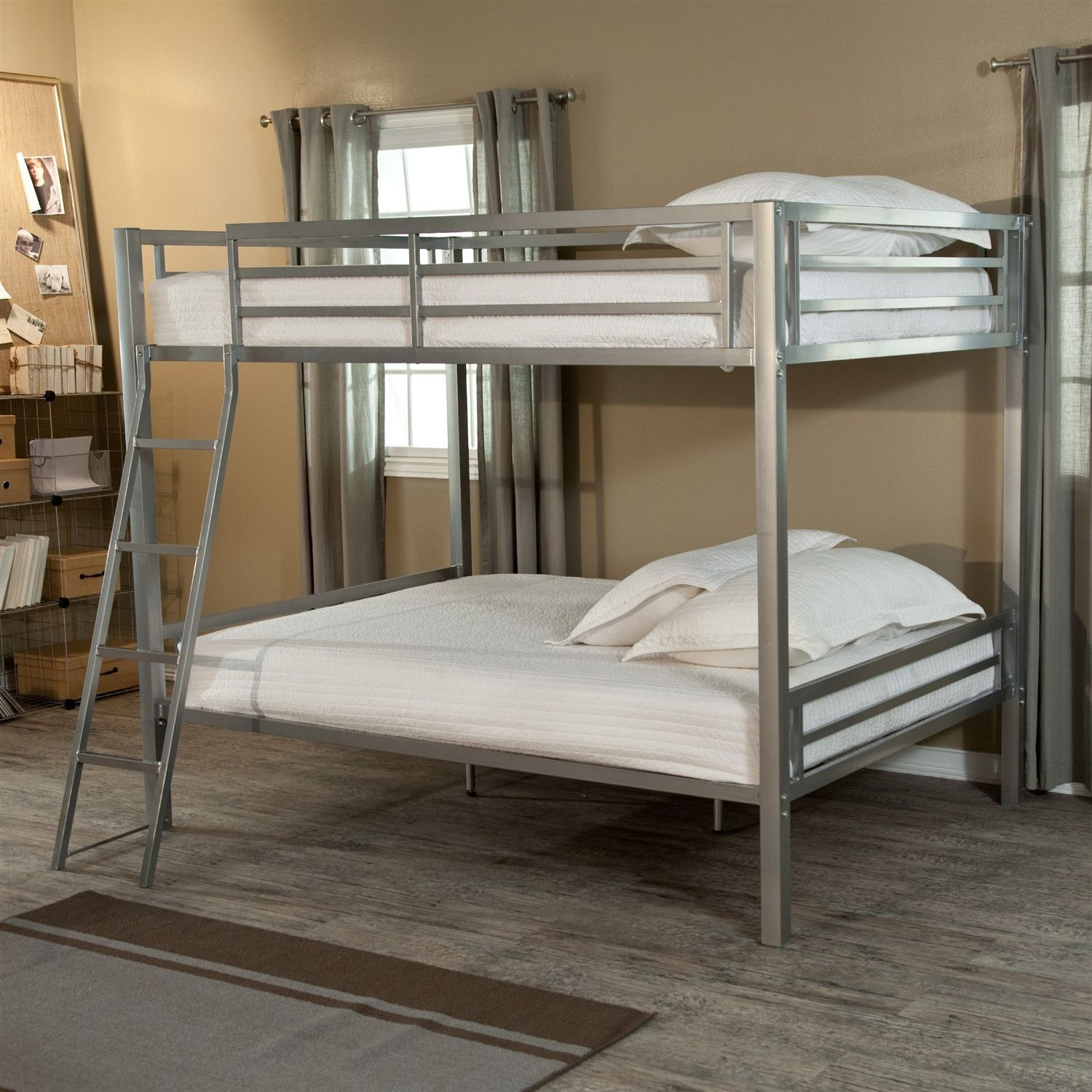 Best Full Over Full Size Bunk Bed With Ladder In Silver Metal 400 x 300