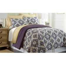 Zoie 6 Piece Comforter Set in Purple, Gray, Brown & Yellow