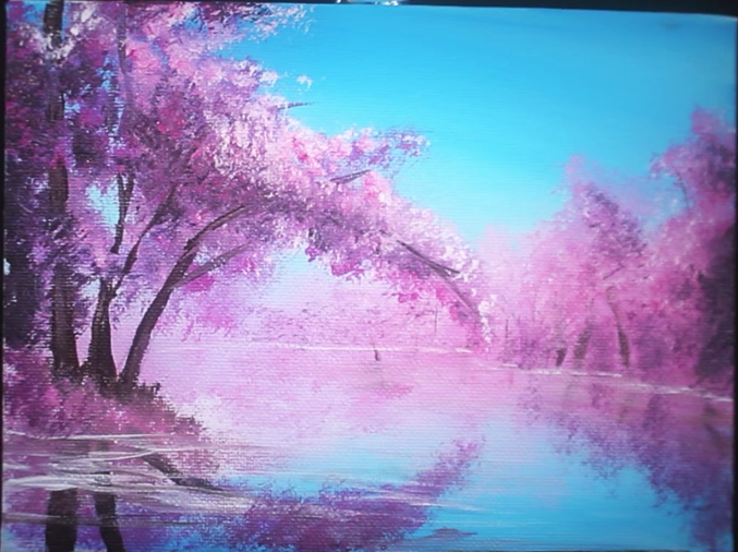 10 Minute Cherry Blossom Tree Tutorial Sunset Landscape Painting Landscape Paintings Acrylic Easy Landscape Paintings
