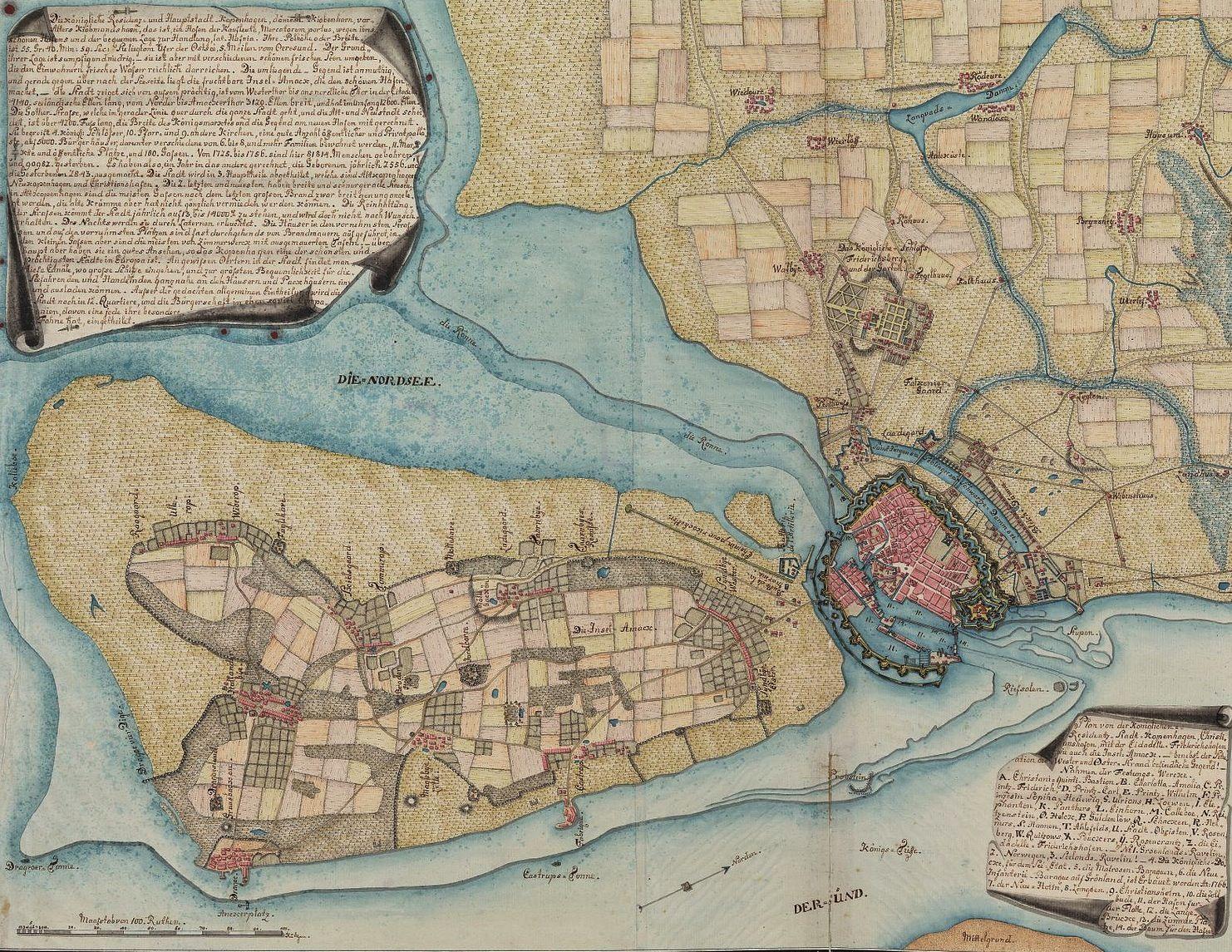 Old Copenhagen Map With City Walls Kort Over Kobenhavn Og Opland
