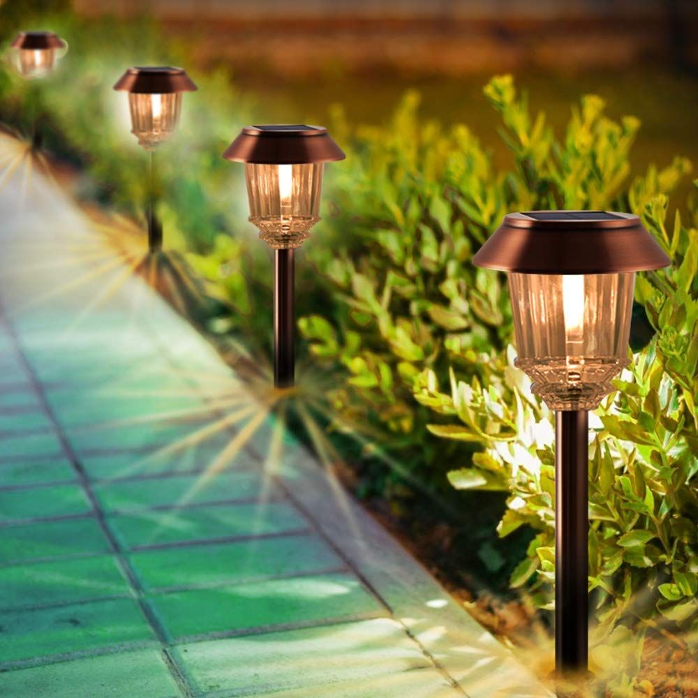 Xmcosy Solar Garden Lights Pathway Lights Outdoor 4 Pack Ip65 Waterproof Glass Cover 8 10 H Solar Lights Garden Solar Pathway Lights Outdoor Solar Lights
