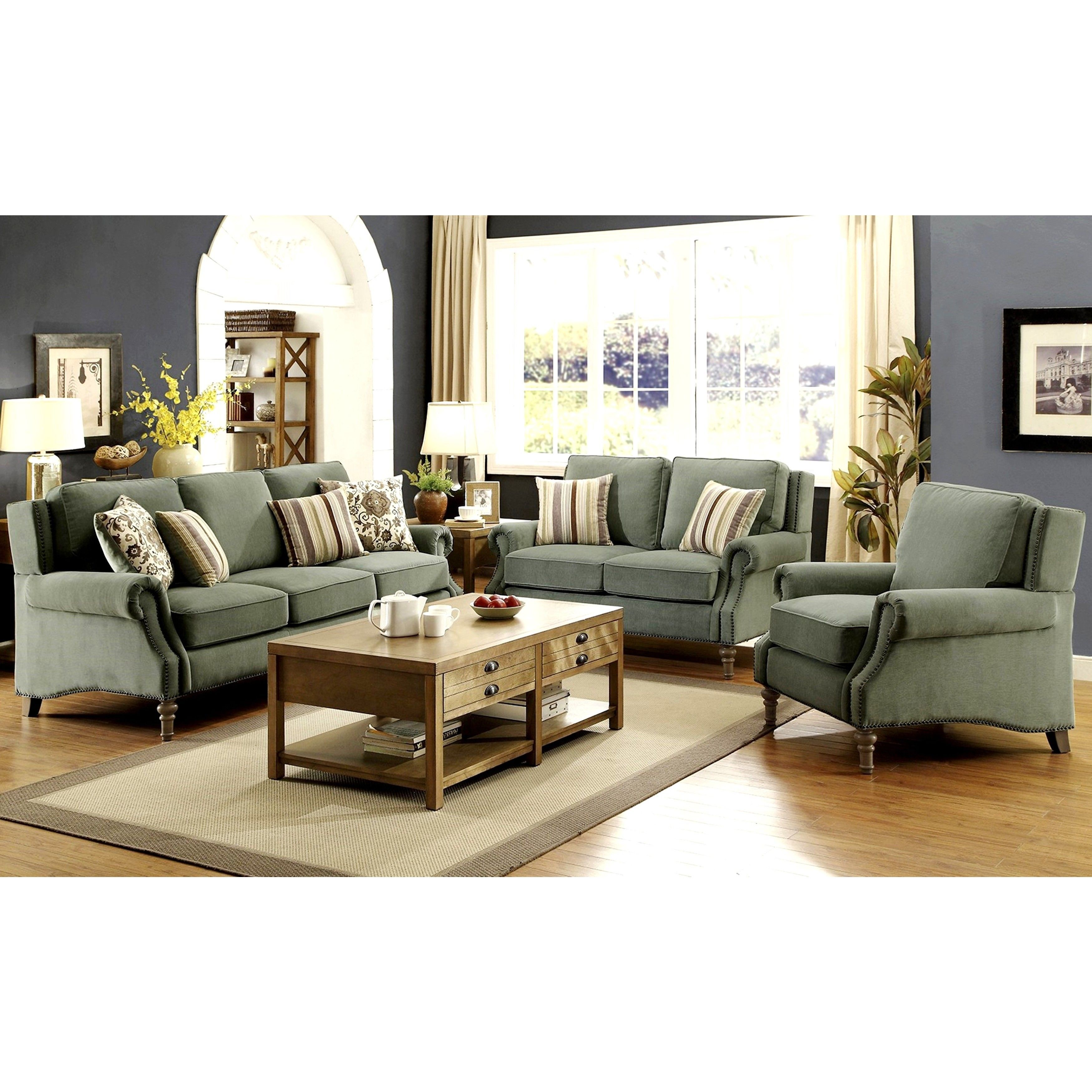 Mid Century French Design Microvelvet With Nailhead Trim Living Room Sofa  Collection (1 Loveseat)