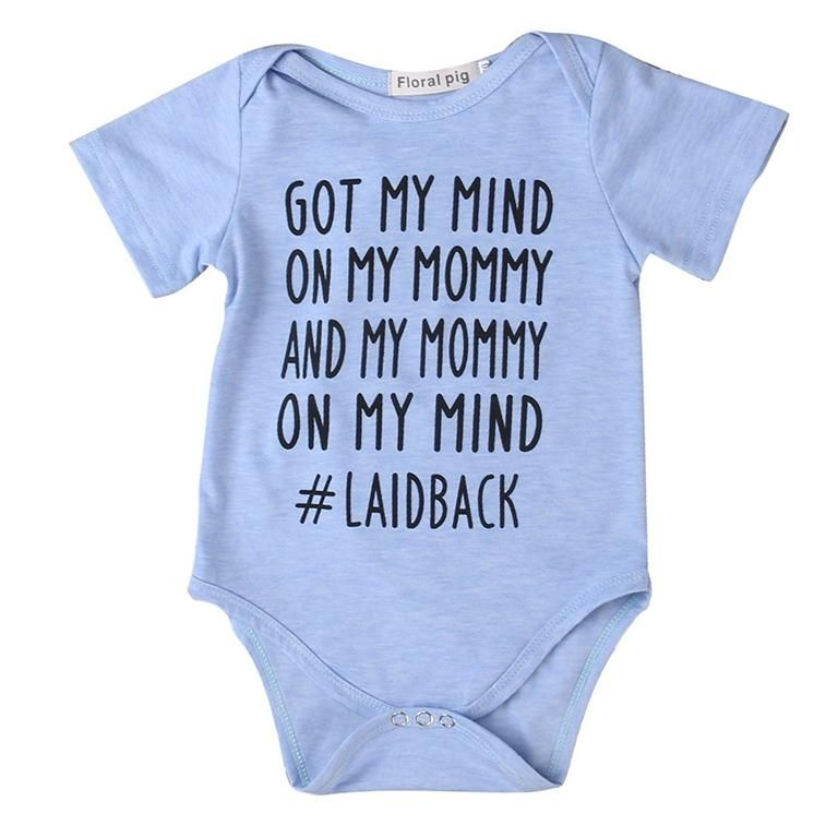 Funny Baby Outfit Trendy Baby Clothes Cute baby Shower Gift Got My Mind on My Mommy and My Mommy on My Mind Gray