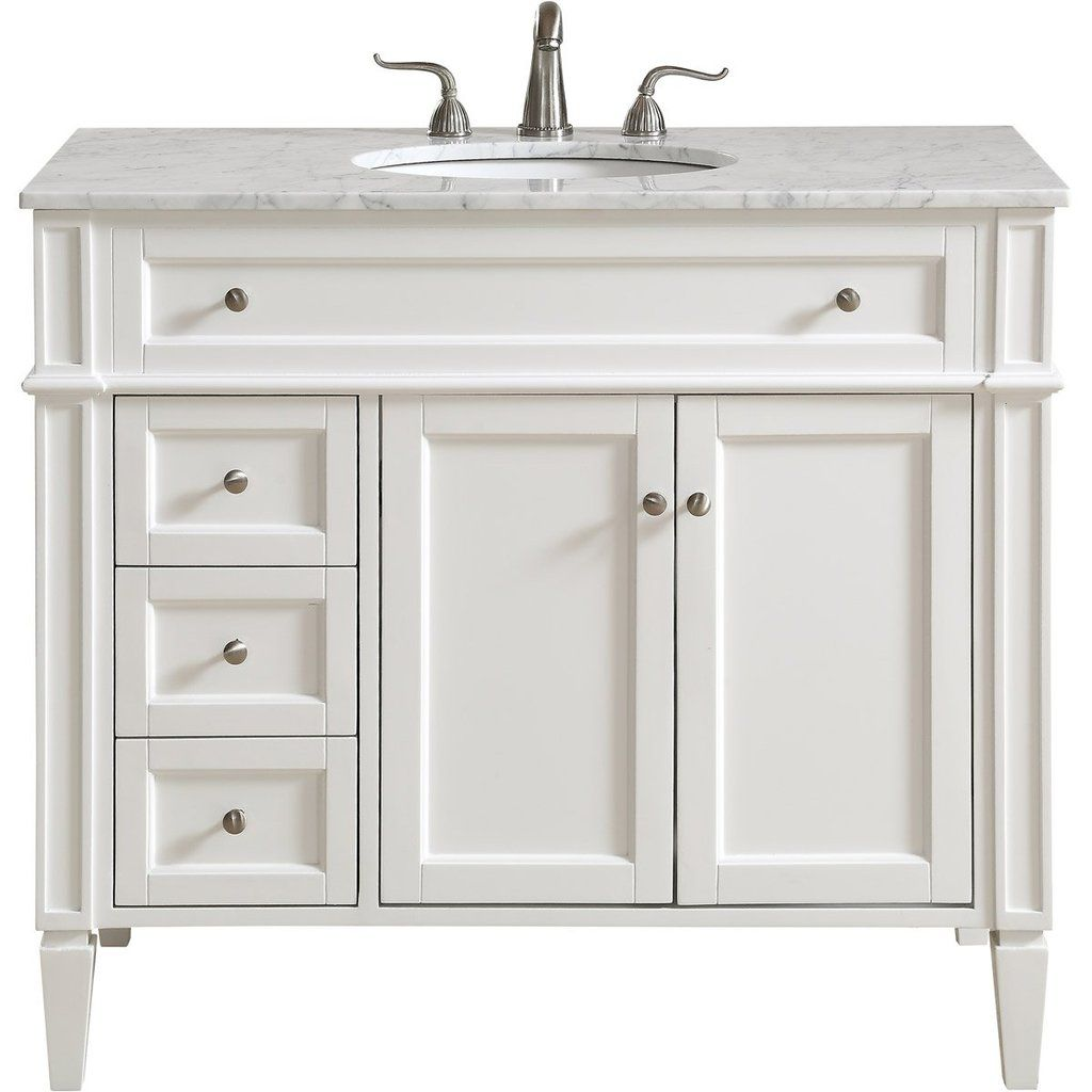 Park Avenue 40 X 35 3 Drawer 2 Door Vanity Cabinet White Finish Vf12540wh Single Bathroom Vanity Elegant Decor Modern Bathroom Lighting