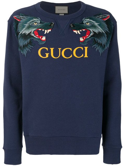 c8dae450de9d Gucci wolf head appliqué sweatshirt | fashion | Gucci sweatshirt ...