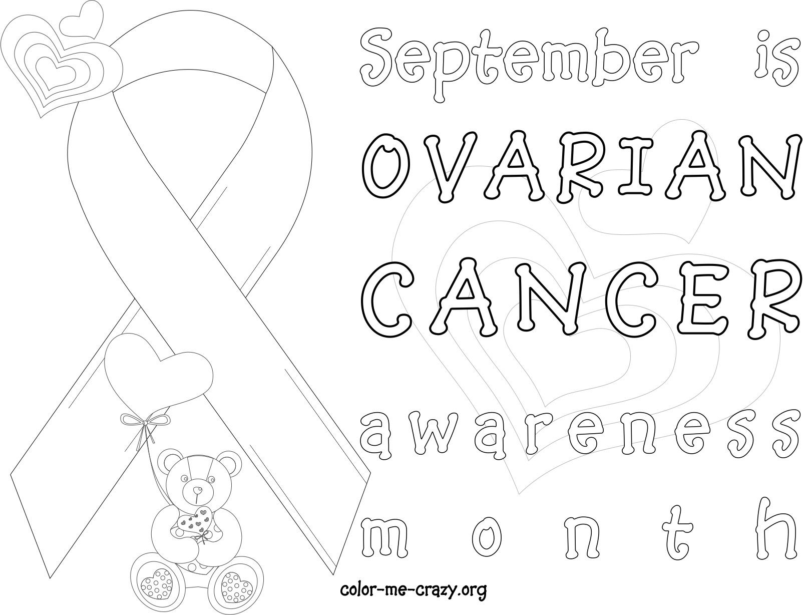 relay for life coloring pages | Pin on Ovarian Cancer ~ September