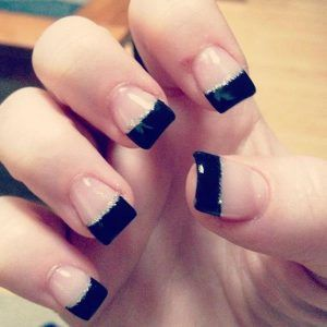 25 Classic Black Nail Art Ideas French Tip Acrylic Nails French Acrylic Nails French Tip Nails