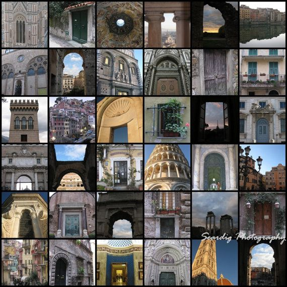 Canvas Collage  Italian Windows Doors  Italy  Rome  by