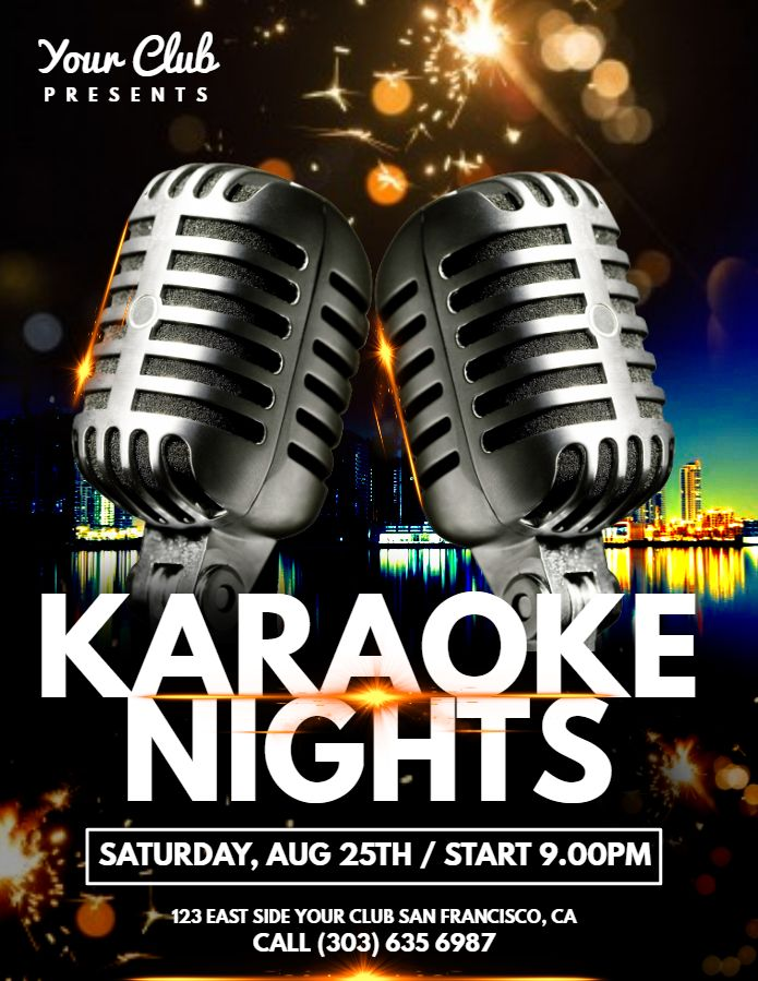 Karaoke Night Flyer Design. Click To Customize.