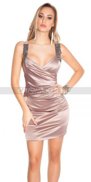 e2d61c3d8b Cappuccino színű, gyönyörű, alkalmi ruha, szatén anyagból, vállán köves,  mellén átlapolós